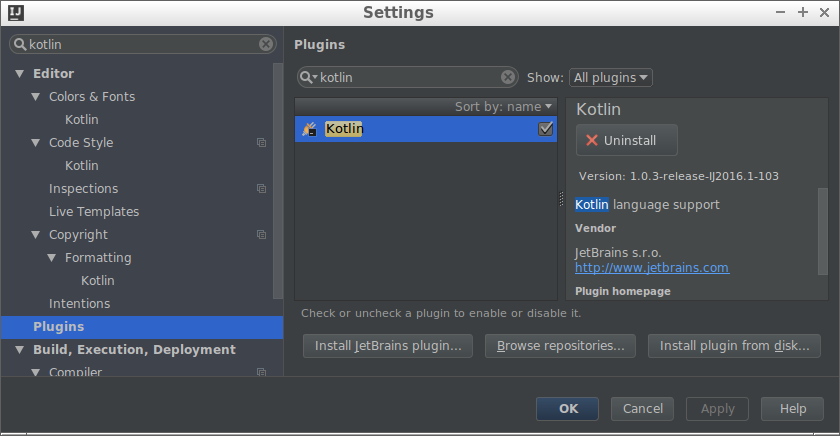Kotlin の始め方 Intellij IDEA