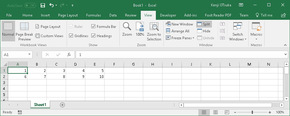 Excel 2016 ウインドウ枠の固定