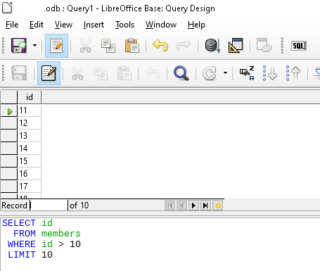 LibreOffice: Show Database Data on Spread Sheet