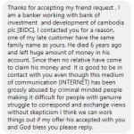 Facebook でカンボジア人から詐欺のメッセージが送られてきた!